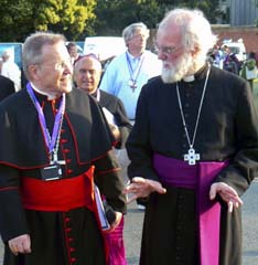 Cardinal Walter Kasper walks with Anglican Archbishop Rowan Williams of Canterbury at the 2008 Lambeth Conference in England. Julien Hammond was moved by Kasper's challenge to make Catholic teaching on ecumenism come alive at the grassroots level.