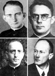 1The three Catholic martyrs, pictured clockwise from bottom left, are Frs. Eduard Mueller, Johannes Prassek and Hermann Lange are to be beatified in June. Rev. Karl Friedrich Stellbrink is pictured at bottom, right.