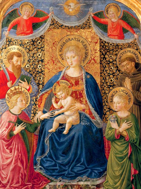 Mary holds the child Jesus in this painting by Benozzo Gozzoli showing the mystical marriage of St. Catherine. The work will be included in a Jan. 20 to June 12, 2011, exhibit in Forli, Italy, highlighting the life of Renaissance painter Melozzo of Forli.
