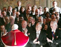 Pope Benedict greets Vatican-accredited diplomats during an audience at the Vatican Jan. 10.