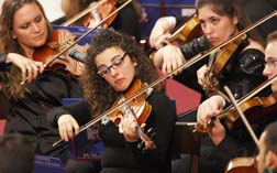 Members of the Italian Youth Orchestra perform during a concert for Pope Benedict last year at the Vatican.