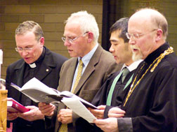 Fr. Greg Bittman, chancellor of the Edmonton Archdiocese, the Rev. John Pasma of the Christian Reformed Church, the Rev. Ryan Sato of the Baptist Church and the Very Rev. Phillip Eriksson of the Orthodox Church in America were among local Church leaders leading the January 23 prayer service.