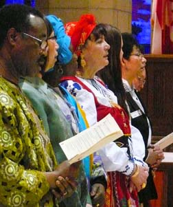 It was 'catholicity evening' at Nothing More Beautiful Feb 17 as the national parishes of the Edmonton Archdiocese brought their ethnic dress, . . .