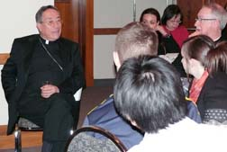 Young people from the Edmonton Archdiocese shared a meal and conversation with Cardinal Oscar Rodriguez, Archbishop Richard Smith and Lesley-Anne Knight, secretary-general of Caritas International.
