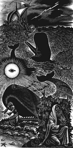 This artwork titled The Story of Jonah is from artist Fritz Eichenberg's portfolio Ten Wood Engravings for the Old Testament.