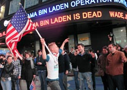 People celebrate the death of Osama bin Laden in times Square in New York early May 2.