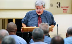 Chaplain Dale Recinella talks to inmates about suffering during religious education instruction at Union Correctional Institution in Raiford, Fla.