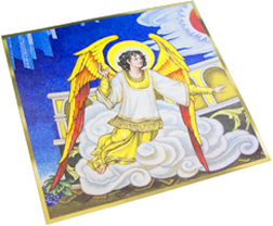 An illustration of St. Michael is seen on a page proof of the new missal edition at the U.S. Conference of Catholic Bishops.