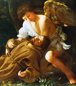 Caravaggio's painting St. Francis Assisi in Ecstasy shows a six-winged seraph respond to the saint's prayer that he might know Christ's love. The work is on display at the National Art Gallery's exhibition Caravaggio and His Friends in Rome.