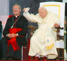 One of the highlights of Cardinal Ambrozic's Term as Archbishop was welcoming Pope John Paul II to Toronto for World Youth Day 2002.