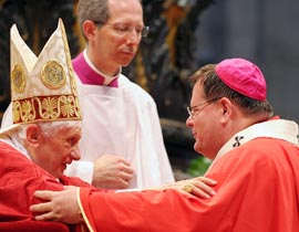 Archbishop Gerald Lacroix, seen here receiving his pallium from Pope Benedict, is one of the new breed of Quebec bishops expected to bring the Church's distinct voice into the public square.