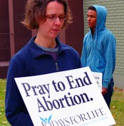 Lori and Joel Buhiire keep vigil outside the abortion clinic as part of 40 Days for Life.