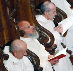 Cloistered monks listen as Pope Benedict leads a prayer at the Carthusian monastery in Serra San Bruno, Italy, Oct. 9.
