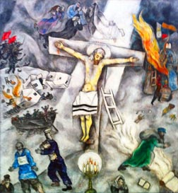 Chagall's White Crucifixion, painted in 1938 as Nazi power increased, was the first in a series portraying Christ as a Jewish martyr.