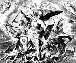 This engraving by 19th century artist Julius Schnorr von Carolsfeld shows St. Michael and his angels fighting against the dragon, a scene depicted in Revelation 12.