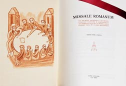 Shown is the title page of the new Roman Missal issued by Pope John Paul II in Latin in 2002.
