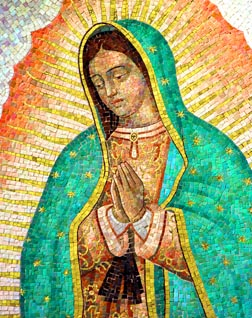Our Lady of Guadalupe, depicted in this mosaic, appeared four times in 1531 to Juan Diego on a hill outside of Mexico City.