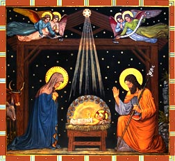 Painted by Benedictine monks in the late 1800's, the mural of baby Jesus depicts the good news of the Saviour's birth.