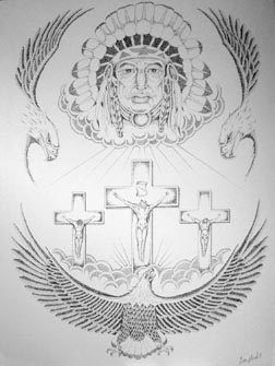This award-winning drawing of the crucifixion surrounded by First Nations imagery by prisoner Curtis Eklund is entitled Hope.