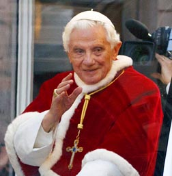 Pope Benedict makes his way to the Spanish Steps for a ceremony honouring Mary in Rome Dec. 8.