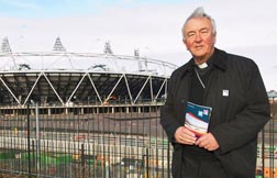 Archbishop Vincent Nichols of Westminster, president of the Bishops' Conference of England and Wales, tours Olympic Park in London Jan. 19.