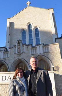 Priscilla and Ave Spratt, co-chairs of the archdiocese's 100th anniversary committee, stand outside St. Joseph's Basilica, the centre of liturgical life in the Edmonton Archdiocese.