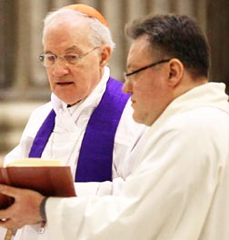 Cardinal Marc Ouellet, prefect of the Vatican Congregation for Bishops, leads a Feb. 7 penitential vigil at St. Ignatius Church in Rome to show contrition for clerical sexual abuse.