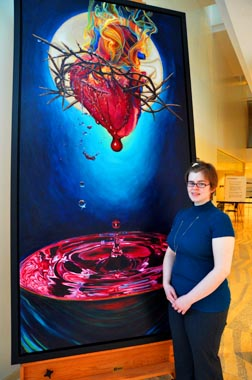Meghan Burnside's The Sacred Heart of Jesus won first prize at Grant MacEwan University.