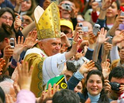 Pope Benedict is immersed in the crowd following his April 24, 2005 inaugural Mass. Bishop Donald Bolen recalls the new pope saying that falling in love with Christ leads, not to diminishment of our lives, but to greater fullness.