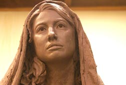 A close-up of Mary, part of a larger Mary and Joseph statue, is being prepared for the cathedral in Wichita, Kan.