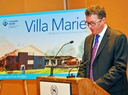 Covenant Health CEO Patrick Dumelie announces construction of Villa Marie in Red Deer.