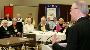 Archbishop Richard Smith addresses the Council of Consecrated Women April 21 in Edmonton.