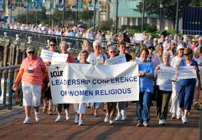 Leadership Conference of Women Religious march in New Orleans for a prayer service to preserve wetlands.