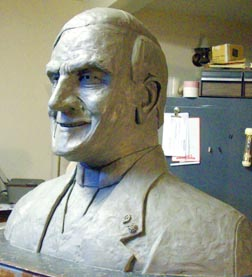 An early version of Ed Gibney's bust of Fr. Michael Troy.