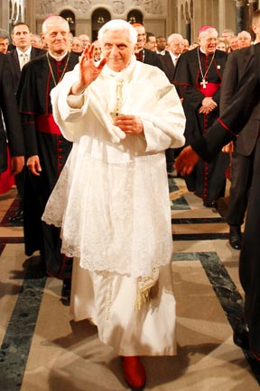 Then Archbishop Donald Wuerl (left rear) walks with Pope Benedict into the Basilica of the National Shrine of the Immaculate Conception during the pope's 2008 visit to Washington.