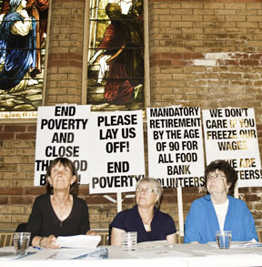 Freedom 90 volunteers Marsha Fox, left, Susan Pratt, Theresa Porter speak out against a segregated food system.
