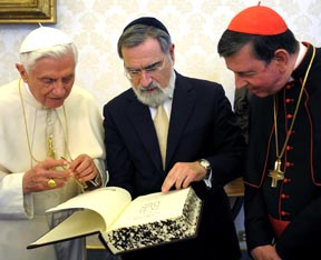 Pope Benedict XVI, Lord Jonathan Sacks, chief rabbi of the United Hebrew Congregations of the Commonwealth, and Swiss Cardinal Kurt Koch, president of the Pontifical Commission for Religious Relations with the Jews, are pictured in 2011 at the Vatican.