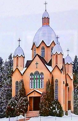 The Exaltation of the Holy Cross Ukrainian Church in Skaro is seen in a winter setting.