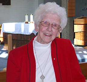 Decked out in red and white, Sr. Ada Toner will lead the Canada Day Parade in Fort Saskatchewan.