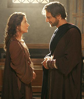 Monica Guerritore portrays the mother of St. Augustine, played by Alesandro Preziosi, in a scene from the movie Restless Heart from Ignatius Press.