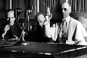 Pope Pius XII delivers a radio message in 1943. His 1947 encyclical Mediator Dei helped pave the way for the liturgical reforms of Vatican II.