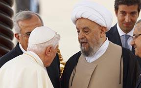 Pope Benedict greets Lebanese Sheik Abdul Amir Qabalan during a welcoming ceremony in Beirut during his recent visit to Lebanon.