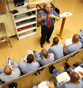The decision to eliminate part-time Prison chaplains distresses inmates.