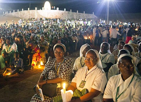 Pilgrims attend a Catholic pilgrimage in the town of Kita, western Mali, Nov. 17. Nearly 7,000 pilgrims participated in the two-day celebration, lead by Archbishop Jean Zerbo of Bamako, Mali.