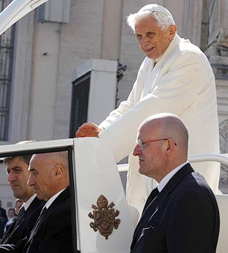 Pope Benedict leaves his final general audience in St. Peter's Square at the Vatican Feb. 27.