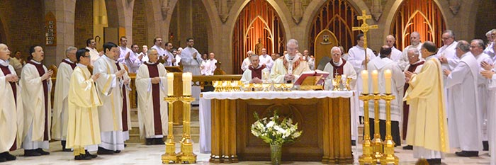 The annual Chrism Mass, held on the Monday of Holy Week in the Edmonton Archdiocese, includes both a celebration of the priesthood and the blessing of the holy oils.