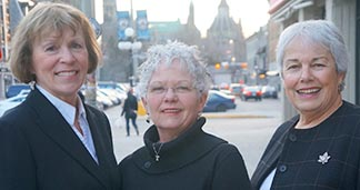 The CWL delegation that took its offers to help to Parliament Hill included legislation chairperson Anne Marie Gorman, resolutions chairperson Shari Guinta and national president Betty Anne Brown Davidson.