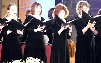 Members of the Greenwood Singers sing at Nothing More Beautiful April 11.