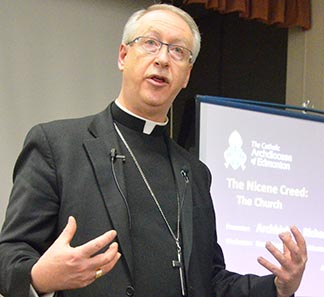 Archbishop Richard Smith says the Church's holiness is due to the presence of the Holy Spirit.