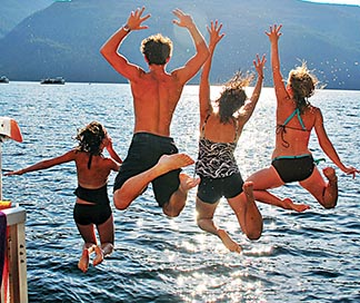 Nicole Dunn (second from right) says her favourite holiday was a houseboating expedition on B.C.'s Shuswap Lake in 2007.